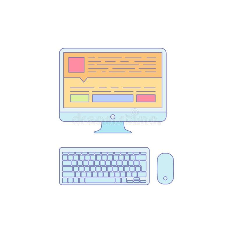 Dator fodrad symbol för affärsarbete arkivfoto