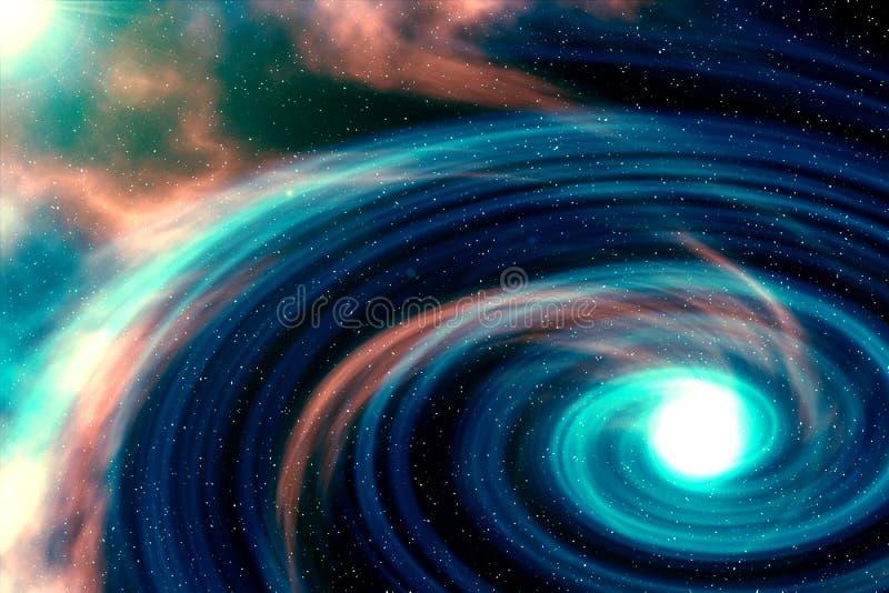 Dator-frambragd färgrik spiralnebulosa royaltyfri illustrationer