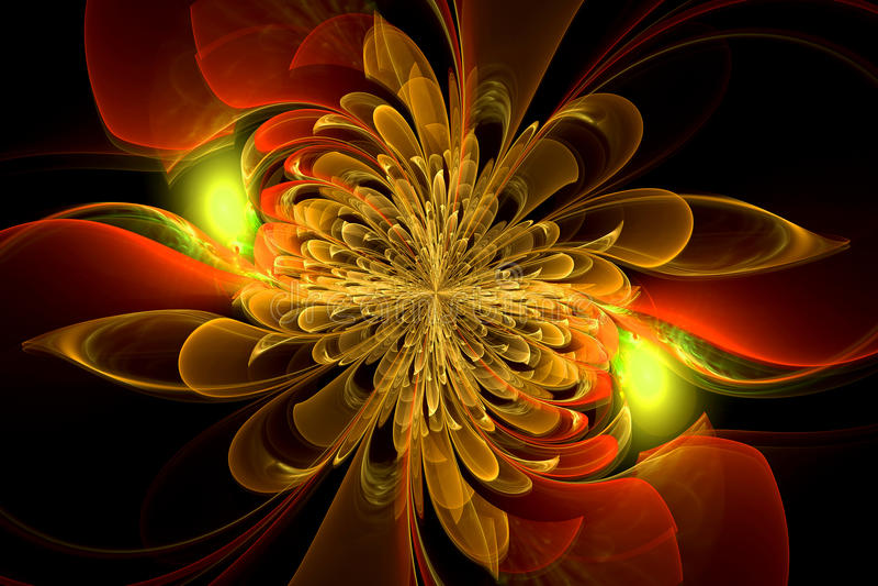 Dator-frambragd fractal med blomman royaltyfri bild