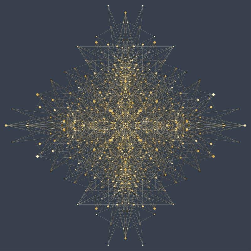 Dator frambragd phyllotaxis prucken vektor för spiralflödesfractal Futuristisk minimalistic orientering Begreppsmässigt generativ stock illustrationer