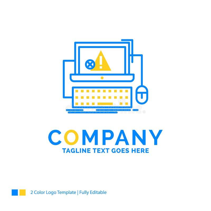 Dator krasch, fel, fel, blå gul affärsjournal för system royaltyfri illustrationer