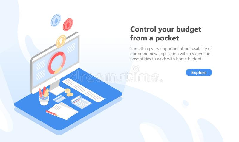 Dator med applikationen för den budget- planläggningen och kontroll, pengarbesparing, skatt och betalaskuld på skärmen och stock illustrationer