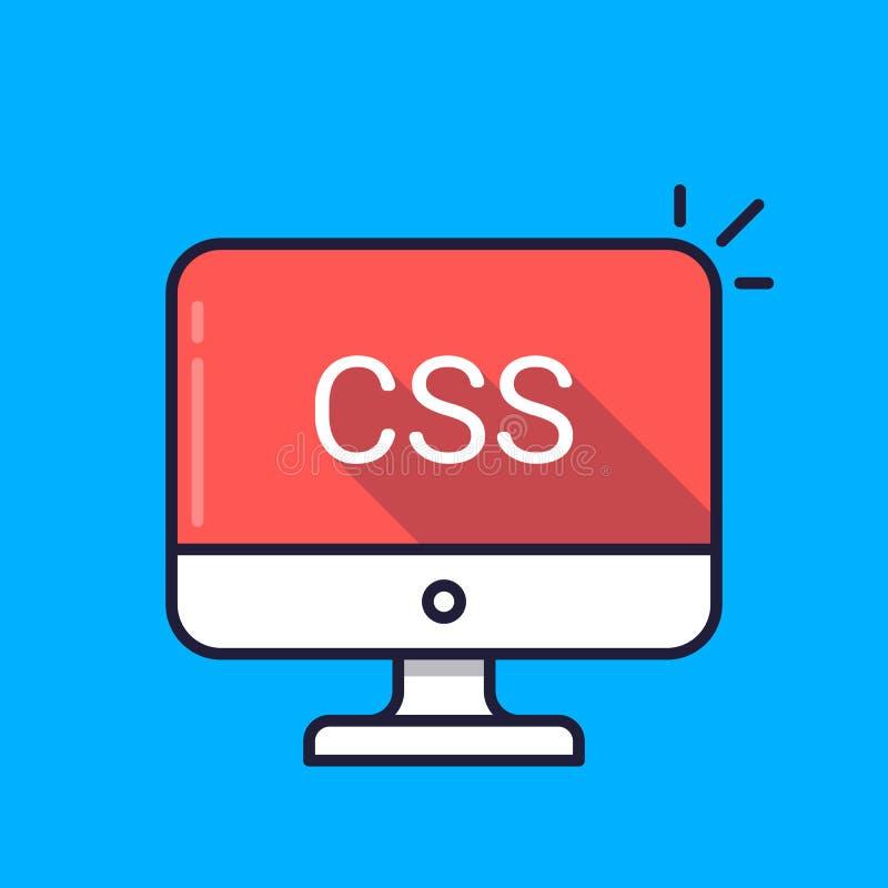 Dator med CSS-ord på skärmen Applådera stilark, begrepp för stilarkspråk Rengöringsdukutveckling som kodifierar stock illustrationer