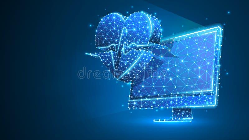Dator med hjärtapulslinjen på bildskärm Polygonal internetbehandling, datoromsorgbegrepp Abstrakt digitalt royaltyfri illustrationer