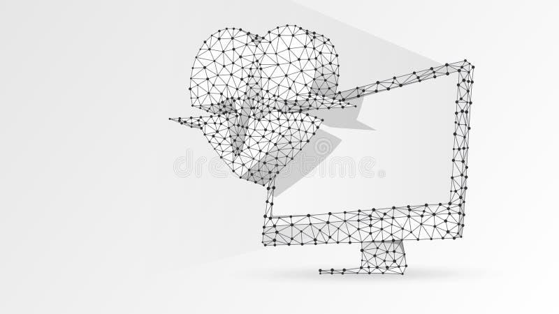 Dator med hjärtapulslinjen på bildskärm Polygonal internetbehandling, datoromsorgbegrepp Abstrakt digitalt, wireframebottenläge vektor illustrationer