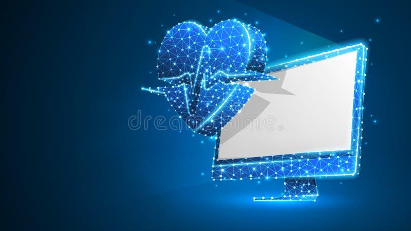 Dator med hjärtapulslinjen på den vita bildskärmen Polygonal internetbehandling, datoromsorgbegrepp Abstrakt digitalt stock illustrationer
