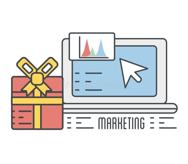 Dator med information om affärsstatistik och gåvagåvan stock illustrationer