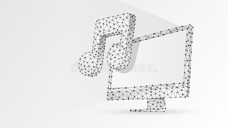 Dator med musikanmärkningen på bildskärmskärmen Polygonal solid projektion, datormelodibegrepp Abstrakt digitalt vektor illustrationer