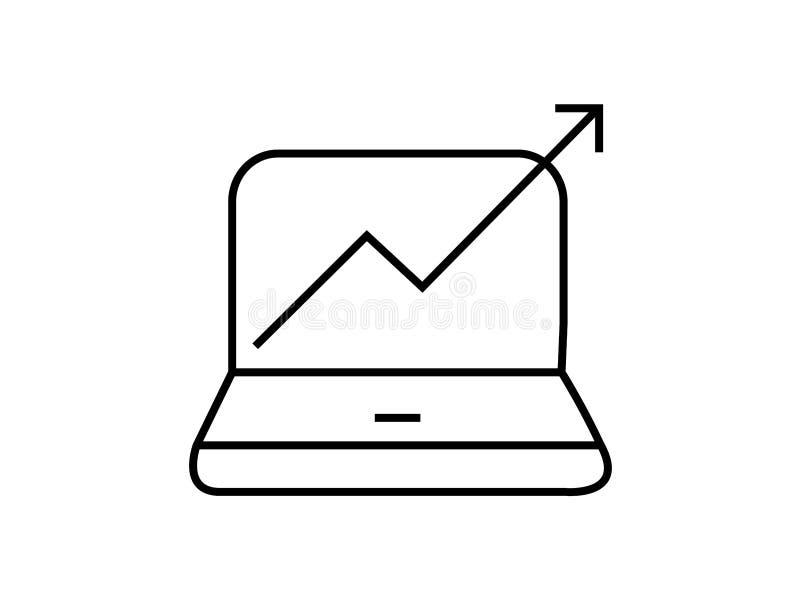 Dator med resninggrafsymbol royaltyfri illustrationer
