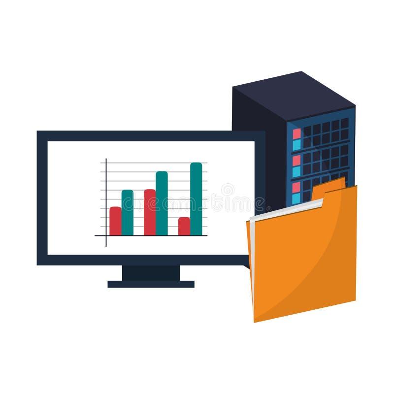 Dator med statistik och mappen stock illustrationer