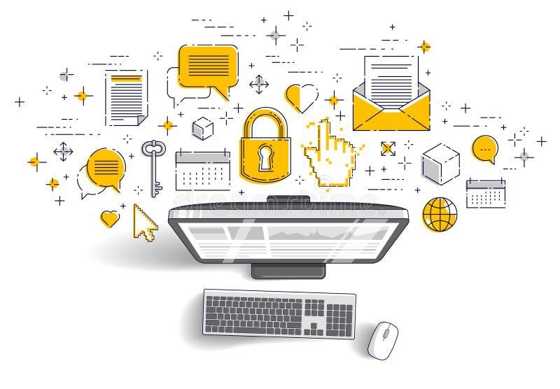 Dator med statistikinfographicsen och uppsättningen av symboler, online-affär, elektroniska finanser för internet vektor illustrationer