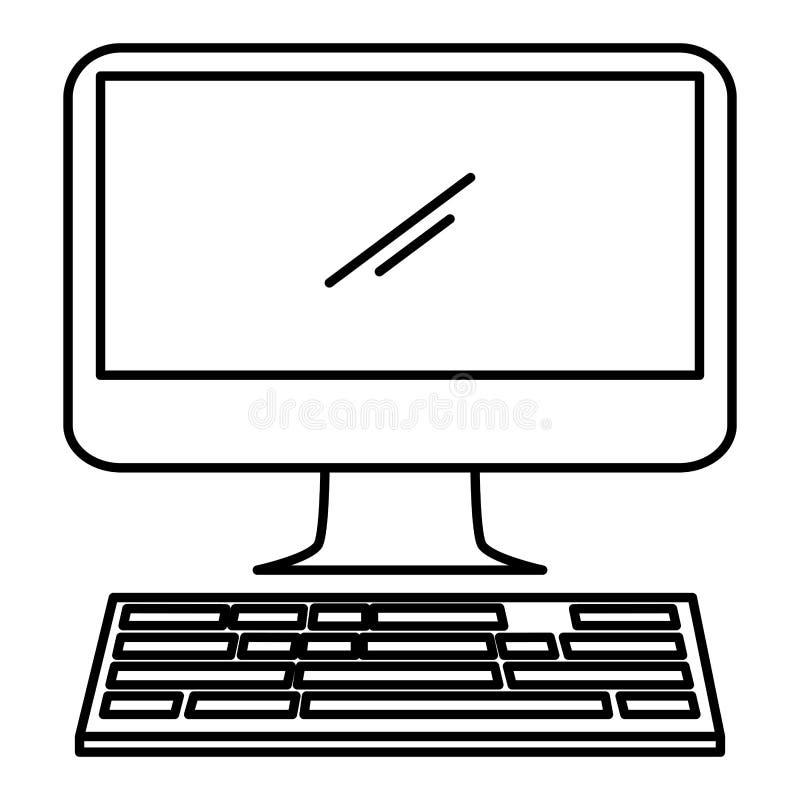 Dator med tangentbordsymbolen royaltyfri illustrationer