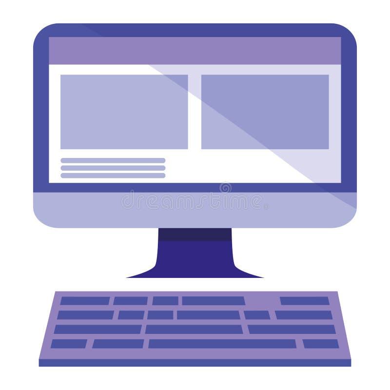 Dator med tangentbordsymbolen vektor illustrationer