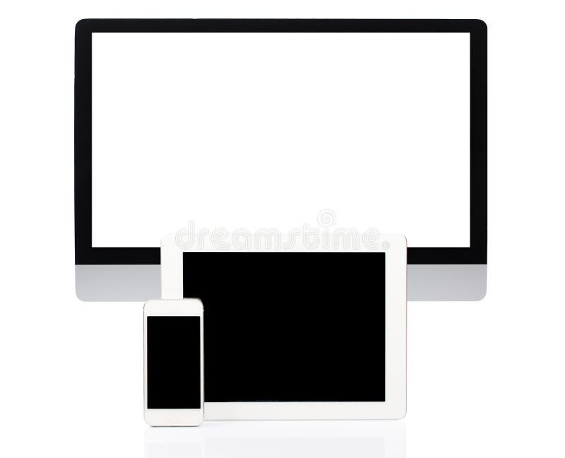 Dator, minnestavla och Smartphone på vit arkivfoton
