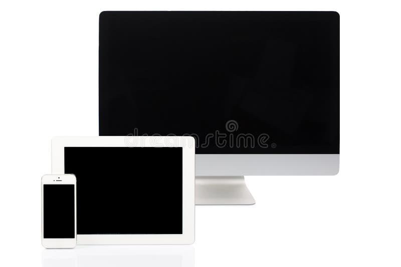 Dator, minnestavla och Smartphone på vit arkivbilder