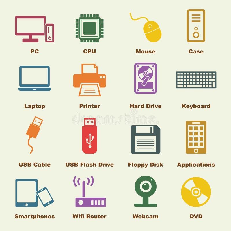 Dator- och apparatbeståndsdelar royaltyfri illustrationer