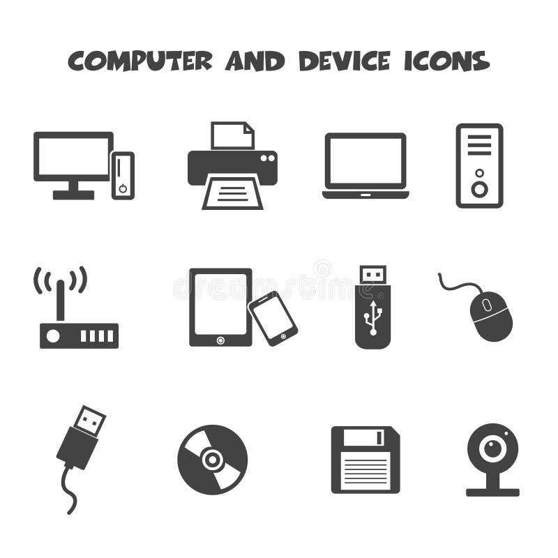 Dator- och apparatsymboler stock illustrationer