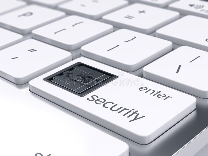 Dator och begrepp för finansiell säkerhet royaltyfri illustrationer