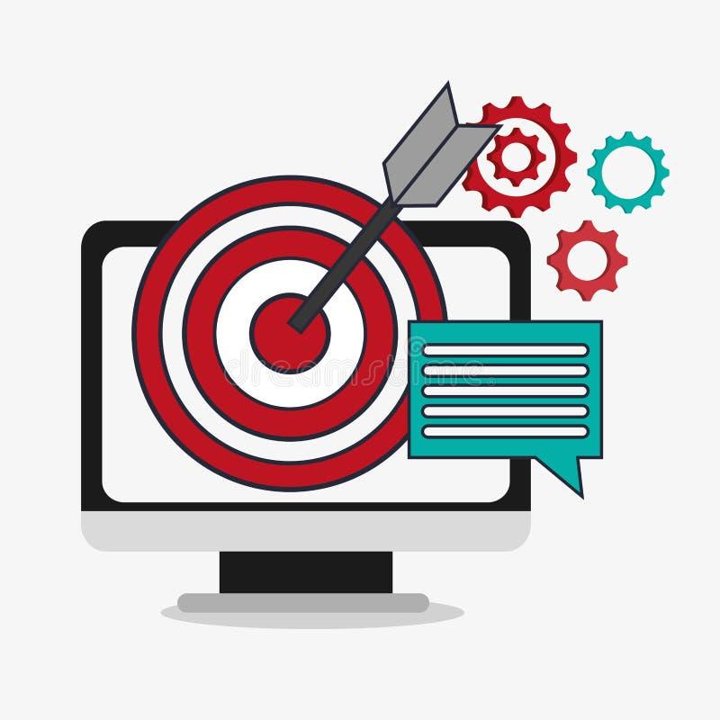 Dator och digital marknadsföringsdesign royaltyfri illustrationer