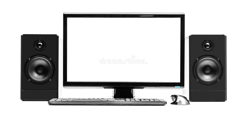 Dator och högtalare royaltyfri bild