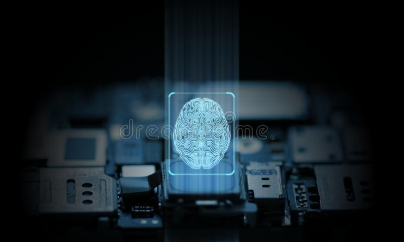 Dator- och mobiltelefonsystemet fungeras av maskinvaruchipseten för konstgjord intelligens Glödande hjärnsymbol fotografering för bildbyråer