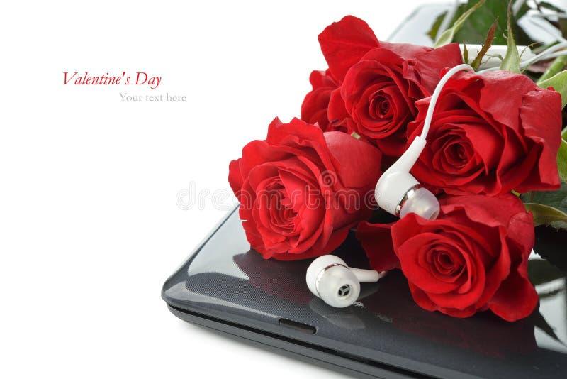 Dator och rosor royaltyfria bilder