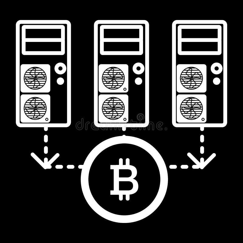 Dator serveror, bitcoinlinje symbol Vektorillustration som isoleras på svart översiktsstildesign som planläggs för rengöringsduk  stock illustrationer