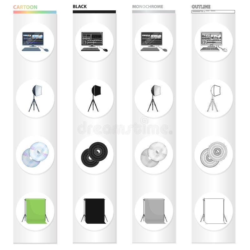 Dator, skärm, tangentbord och annan rengöringsduksymbol i tecknad filmstil Filmkonst bio, drama, symboler i uppsättningsamling vektor illustrationer