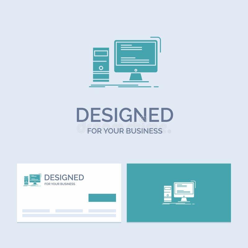 Dator skrivbord, dobbel, PC, personlig affär Logo Glyph Icon Symbol för din affär Turkosaff?rskort med m?rke vektor illustrationer
