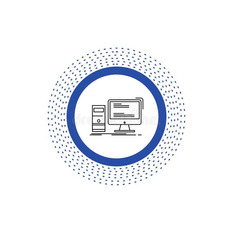 Dator skrivbord, dobbel, PC, personlig linje symbol Vektor isolerad illustration royaltyfri illustrationer
