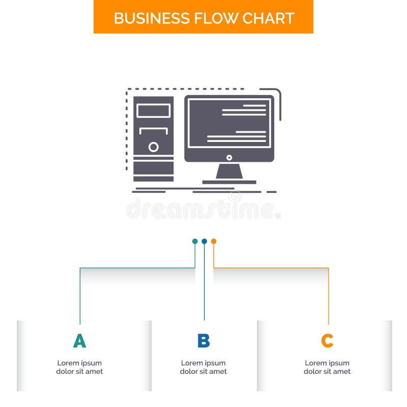 Dator skrivbord, maskinvara, arbetsstation, design f?r diagram f?r systemaff?rsfl?de med 3 moment r royaltyfri illustrationer
