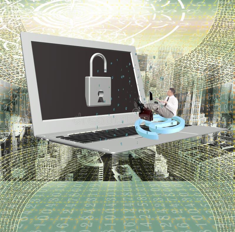 Dator som programmerar säkerhetsinternet arkivfoto