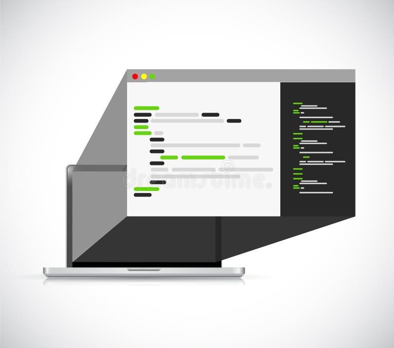 dator som programmerar symbolsillustrationen för webbläsare 3d royaltyfri illustrationer