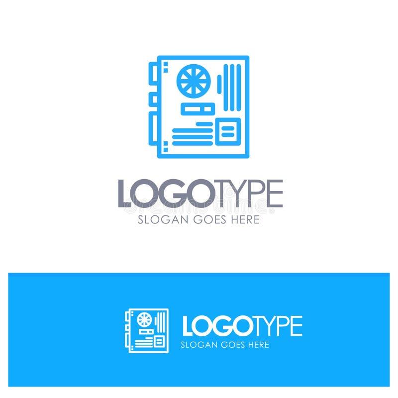 Dator strömförsörjning, Mainboard, moder, blå översiktslogo för moderkort med stället för tagline royaltyfri illustrationer
