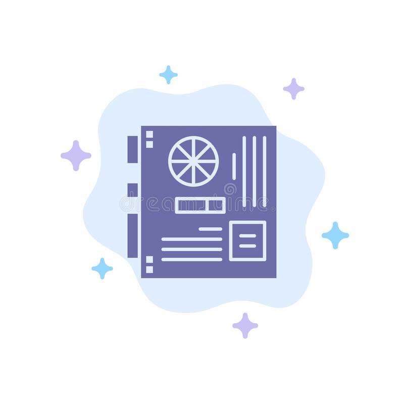 Dator strömförsörjning, Mainboard, moder, blå symbol för moderkort på abstrakt molnbakgrund royaltyfri illustrationer