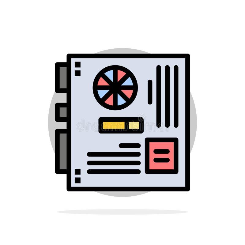 Dator strömförsörjning, Mainboard, moder, för abstrakt symbol för färg cirkelbakgrund för moderkort plan stock illustrationer