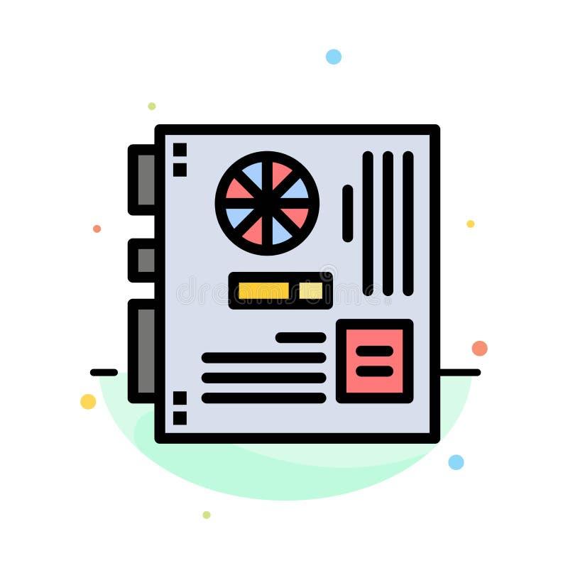Dator strömförsörjning, Mainboard, moder, för färgsymbol för moderkort abstrakt plan mall stock illustrationer