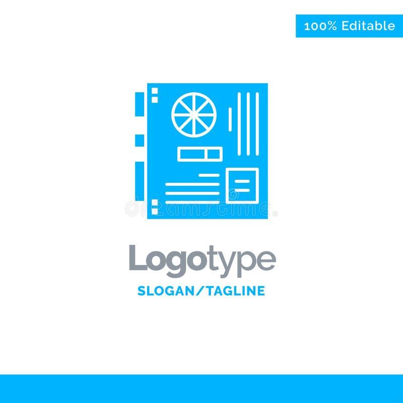 Dator strömförsörjning, Mainboard, moder, moderkort blåa fasta Logo Template St?lle f?r Tagline stock illustrationer