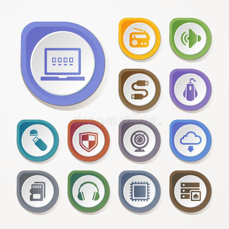 Dator uppsättning för teknologimaskinvarusymboler royaltyfri illustrationer