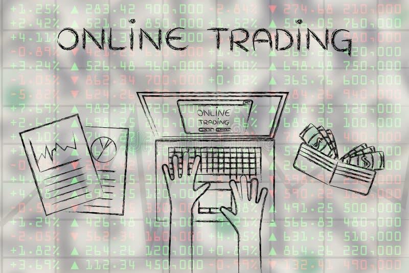 Datoranvändare överst av aktiemarknaddata, med textonline-Trad royaltyfri illustrationer