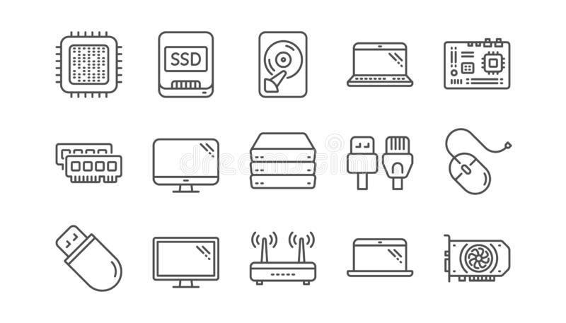 Datorapparatlinje symboler Moderkort, CPU och bärbar dator Linjär symbolsuppsättning vektor vektor illustrationer
