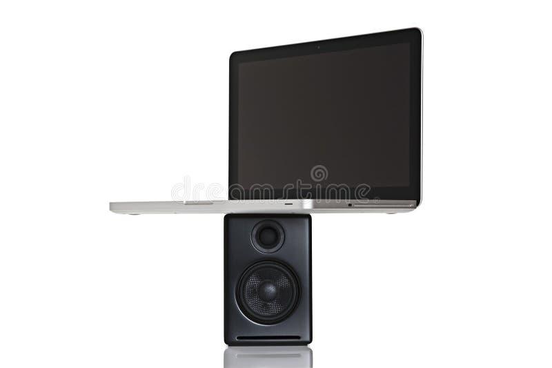 datorbärbar datorhögtalare arkivfoton