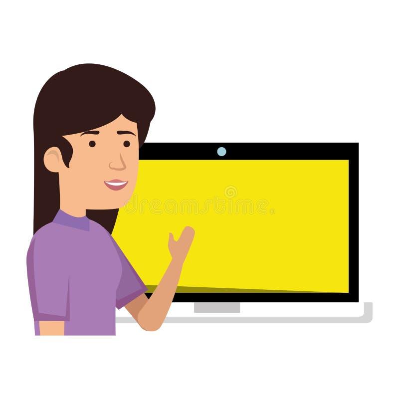 datorbärbar datorkvinna stock illustrationer