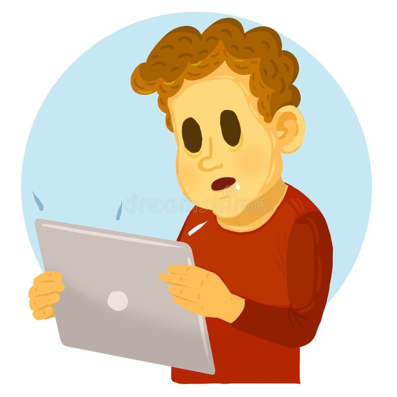 Datorböjelse Fokuserat barn som ser minnestavladatoren royaltyfri illustrationer