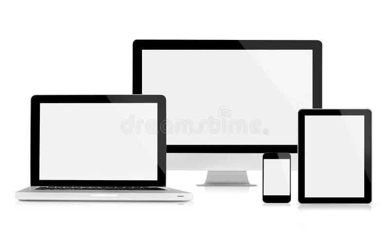 Datorbildskärm, bärbar dator, minnestavla och mobiltelefon royaltyfri fotografi