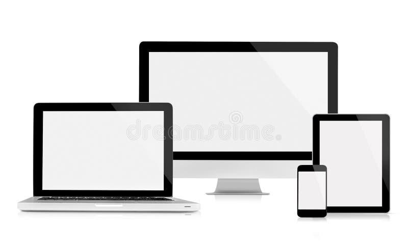 Datorbildskärm, bärbar dator, minnestavla och mobiltelefon vektor illustrationer