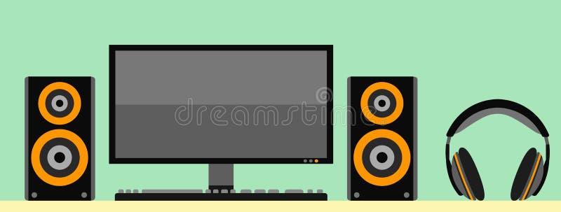 Datorbildskärm med den akustisk högtalaren och hörlurar för tangentbord stock illustrationer