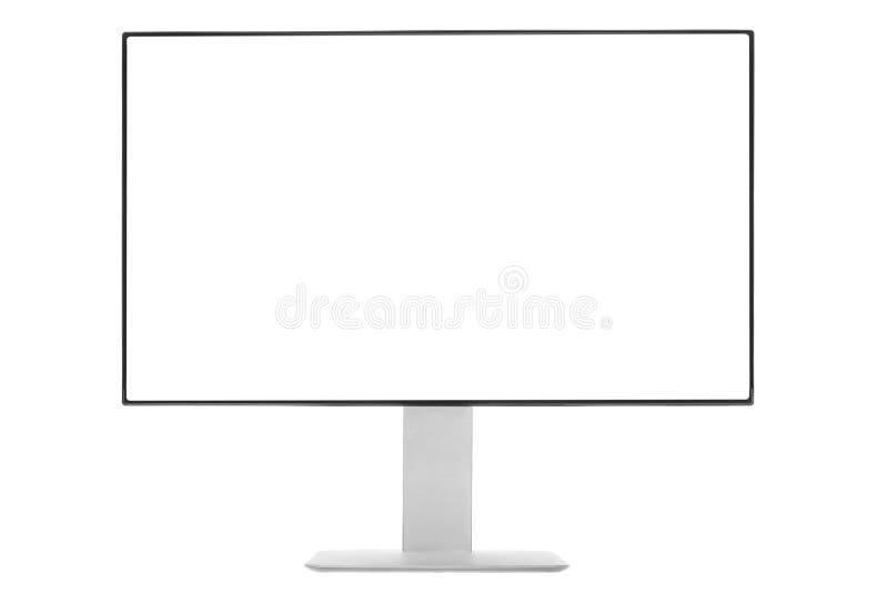 Datorbildskärm med den vita skärmen arkivbild