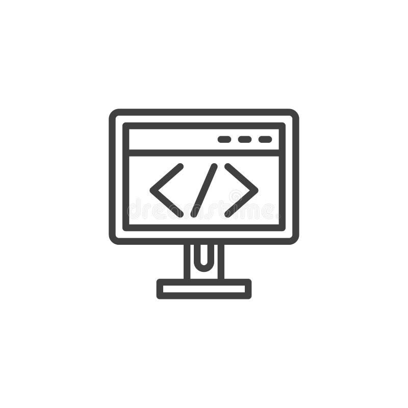 Datorbildskärm med skriftkodlinjen symbol vektor illustrationer