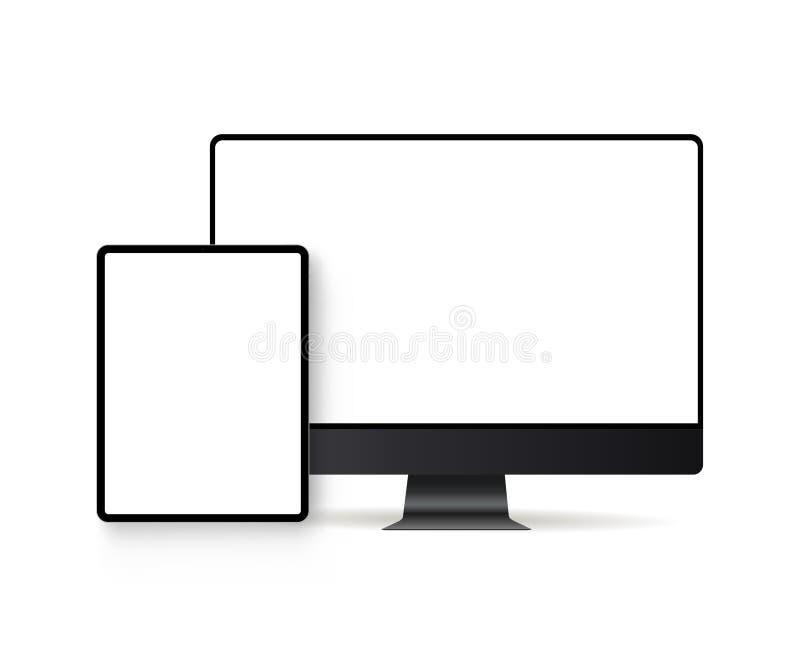 Datorbildskärm och minnestavla med tomma skärmar som isoleras på vit bakgrund royaltyfri illustrationer